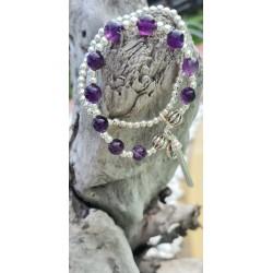 bracelet Améthyste coeur