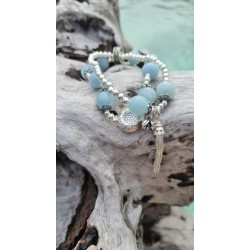bracelet Aigue marine lotus