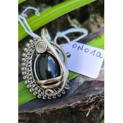 pendentif Onyx argenté