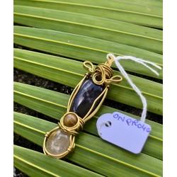 pendentif Onyx/quartz rutile