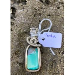 pendentif Turquoise argenté